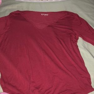 red mudd shirt with elbow ish length sleeves